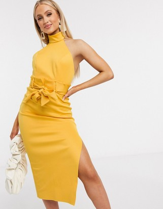 ASOS DESIGN paperbag halter pencil midi dress in mustard