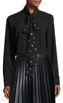 MICHAEL Michael Kors Long-Sleeve Blouse w/ Grommet Neck Tie, Black