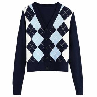U/A Women Vintage Sweater Long Sleeve Outerwear Dark Blue