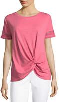 Liz Claiborne Short Sleeve Fringe Twist Hem T-Shirt - Womens