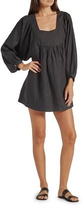 Jade Puff-Sleeve Linen Dress