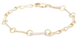 Azlee - 18kt Gold & Diamond Pave Link Chain Bracelet - Womens - Gold