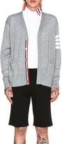 Thom Browne Wool Cardigan with Bar Stripe Sleeve