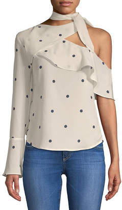 Lea & Viola One-Shoulder Polka Dot Top