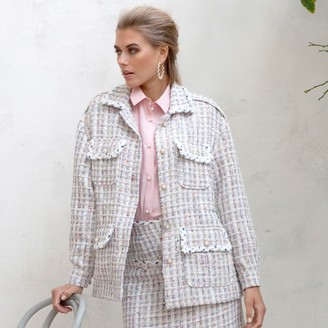 Jovonna London Cream Kumari Tweed Jacket - small