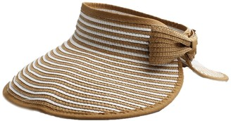 Accessoryo Women Summer Sun Visor Large Wide Brim Straw Beach Sun Beige & White Stripe Hat with Bow Outdoor Sports Holiday Cap