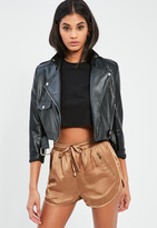 Missguided Gold Silky Zip Detail Runner Shorts