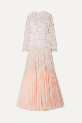 Needle & Thread Pearl Rose Cutout Embellished Embroidered Tulle Gown - Pastel pink