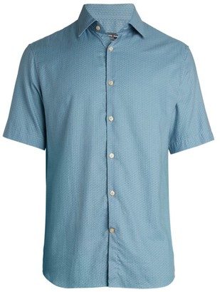 Saks Fifth Avenue COLLECTION Modern-Fit Lattice-Print Twill Shirt