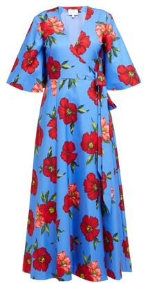 Rebecca De Ravenel Floral-print Cotton And Silk-blend Wrap Midi Dress - Blue Multi