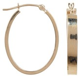 Candela 10K Yellow Gold Rectangular Tube Oval 19mm Hoop Earrings
