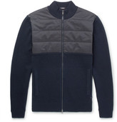 HUGO BOSS Narboni Quilted Shell-panelled Wool And Cotton-blend Zip-up Sweater - Navy
