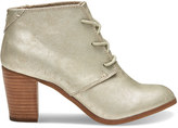 Toms White Gold Metallic Synthetic Leather Women's Lunata Lace-Up Booties