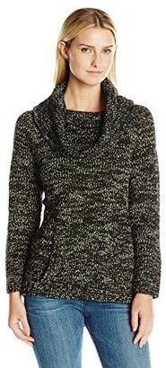 Heather B Women's Roll Neck Pullover Cowl with Kangaroo Pocket and Embroidered Plate in Back