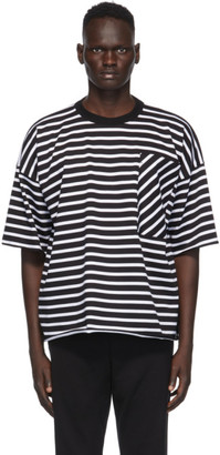 N.Hoolywood Black and White Striped T-Shirt