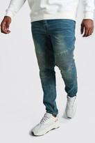 boohoo Mens Blue Big And Tall Skinny Fit Biker Jean, Blue