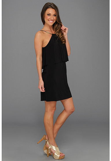 T-Bags Tbags Los Angeles High Neck Mini Dress with Ruffle Flap Detail