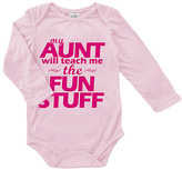 Urban Smalls Pink 'My Aunt Will Team Me the Fun' Long-Sleeve Bodysuit - Infant