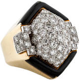 David Webb Diamond & Enamel Cocktail Ring
