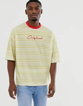 Asos Design DESIGN oversized stripe t-shirt in pique fabric with original embroidery