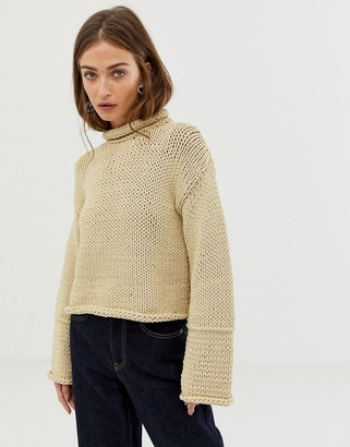 Asos knitted jumper with wide sleeve detail-Beige