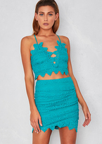 Missy Empire Petal Teal Crochet Crop Top and Mini Skirt Co-Ord