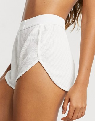 ASOS DESIGN mix & match waffle pajama short with elastic waistband in off white
