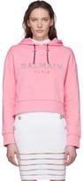 Balmain Pink Mirrored Logo Hoodie