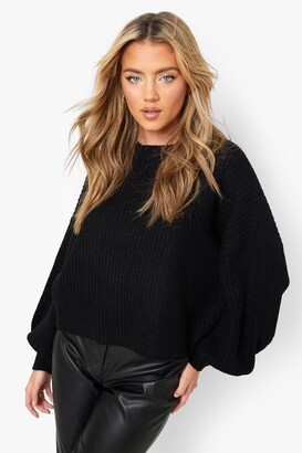 boohoo Oversized Balloon Sleeve Crop Sweater