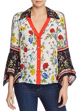 Alice + Olivia Randa Bell-Sleeve Mixed Floral Blouse