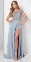 Terani Couture High Slit Rhinestone Encrusted Bateau Evening Dress