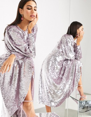 ASOS EDITION blouson sleeve midi dress in sequin