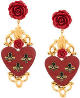 Dolce & Gabbana rose and heart drop earrings