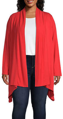 Liz Claiborne Long Sleeve Sharkbite Hem Cardigan - Plus
