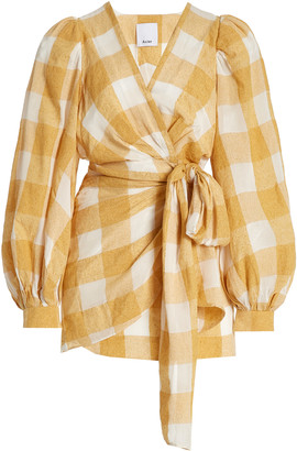 Acler Sutherland Gingham-Check Mini Wrap Dress