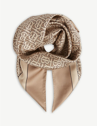 Burberry Monogram print square silk scarf