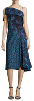 Zac Posen Printed Cotton One Shoulder Dress