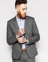 Farah Suit Jacket In Grey Herringbone