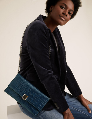 Marks and Spencer Croc Effect Chain Clutch Bag