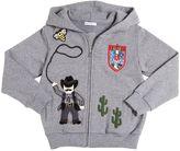 Dolce & Gabbana Cowboy Patches Zip-Up Cotton Sweatshirt