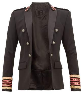 Balmain Embellished-wool Double-breasted Blazer - Mens - Black