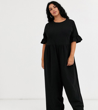 Asos DESIGN Curve smock jumpsuit with frill sleeve-Black