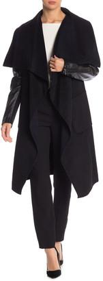 BCBGMAXAZRIA Fiona Leather Sleeve Wool Blend Coat