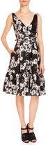 Erdem Gaby Floral-Print Dress W/Pockets, Black/White