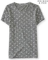Aeropostale Womens Floral Dot Crew Skinny Tee Shirt Gray