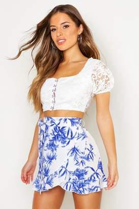 boohoo Petite Floral Print Wrap Mini Skirt