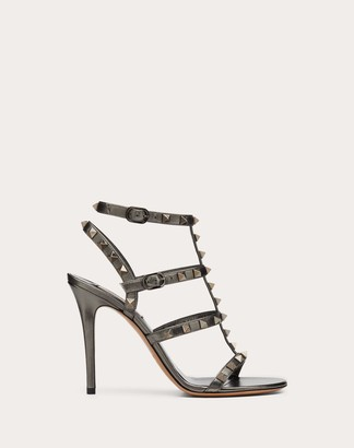 Valentino Rockstud Metallic Calfskin Leather Ankle Strap Sandal 100 Mm Women Ruthenium 100% Lambskin 37
