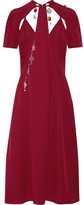 Christopher Kane Cutout Embellished Crepe Midi Dress - Burgundy