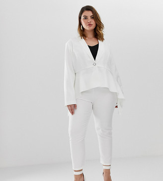 Unique21 Hero high rise tailored trousers-White