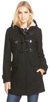 London Fog Women's Wool Blend Duffle Coat With Faux Shearling Lined Hood
